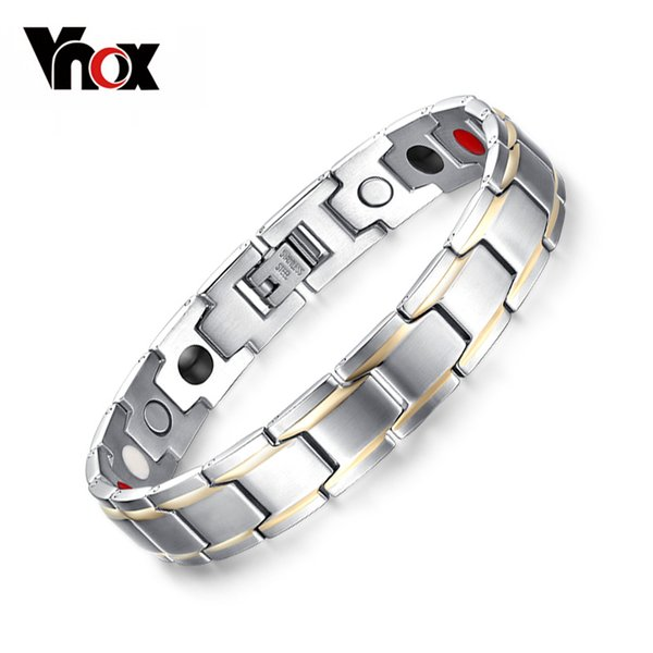 Vnox Trendy Magnet Bracelet Bangle for Women Men Stainless Steel Health Care Magnetic Germanium Energy Power Male Casual Jewelry