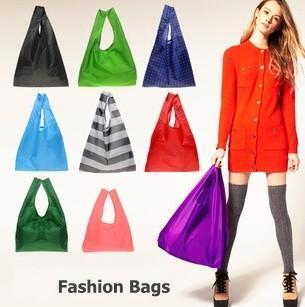 best selling Reusable Shopping Bags Handbag Foldable Tote Eco Friendly Folding Bag For Woman Men Waterproof Storage Reusable Pouch Plain Colors Sale