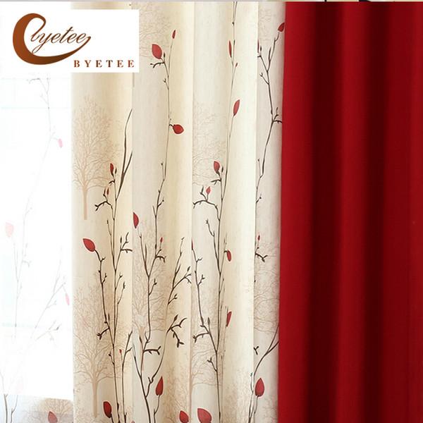 Acquista {byetee} Tenda In Lino Cotone Ecologico Moderno Rustico Rosso  Cucitura Qualità Soggiorno Tessuti Tende Tende Da Cucina Tende Tende A  $22.8 ...