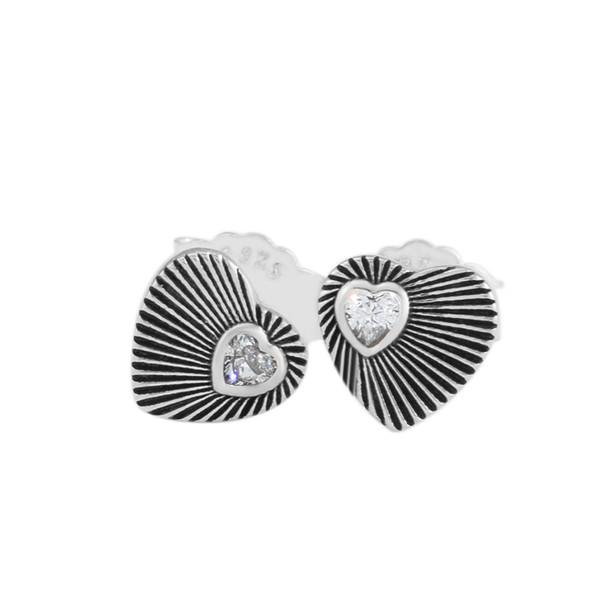 Vintage Heart Fans Earrings Heart Shape Earrings Original 925 silver jewelry European Style Earrings Studs For Woman Jewelry Finding