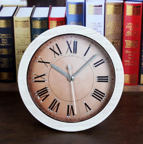 European classic to do the old rivet clock / creative simulation wood table clock plastic home decor klok masa saati
