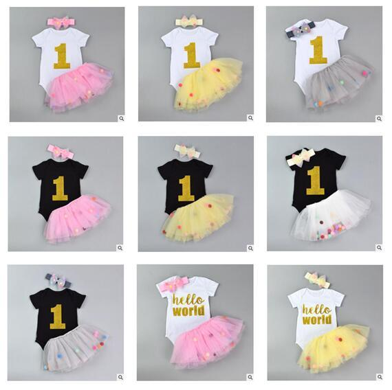 Girls Clothes Romper with Headband Tulle Ball Skirt Girls Clothes Baby Cotton Romper Cute Skirt Kids Clothing 28 Styles DHL Free Shipping