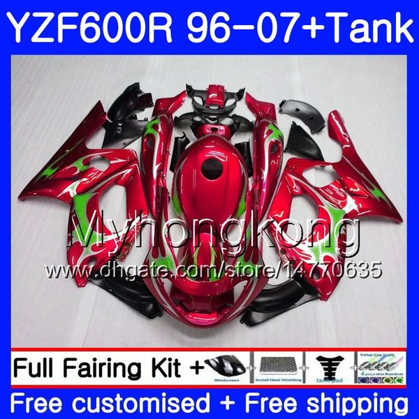 Body + Green flames red Tank Para YAMAHA Thundercat YZF600R 96 97 98 99 00 01 229H.12 YZF-600R YZF 600R 1996 1997 1998 1999 2000 2001 Fairing
