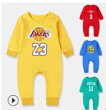 top popular Brand New Children Clothing Spring Autumn 100% Cotton Basketball Jumpsuits New Born Long Sleeve Sport rompers Baby Rompers Free Shipping 2020