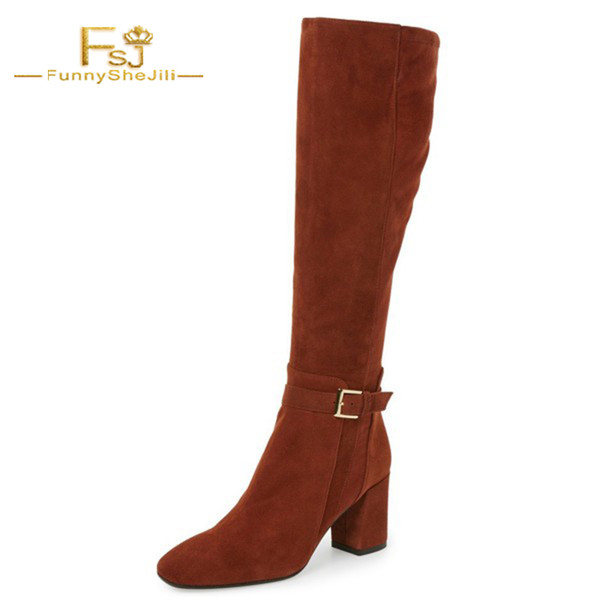 comfortable feel hot-selling cheap a few days away Woman Shoes Maroon Chunky Heels Knee High Boots Square Toe Flock Long Boots  FSJ Buckle Strap Work Casucal 2018 Lady Boot Size 15 Womens Boots Boots Uk  ...