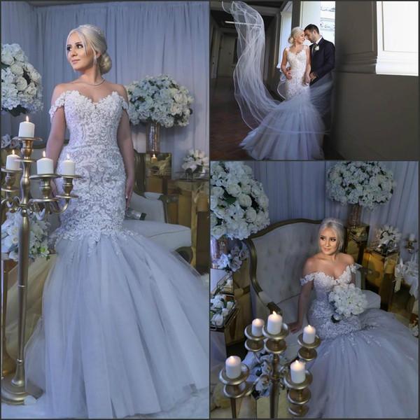 Exquisite Perlen Spitze Meerjungfrau Brautkleider Schulterfrei Plus Größe Ausgestattet Arabisch Dubai Afrikanische Brautkleid Vestido de novia Braut Kleid