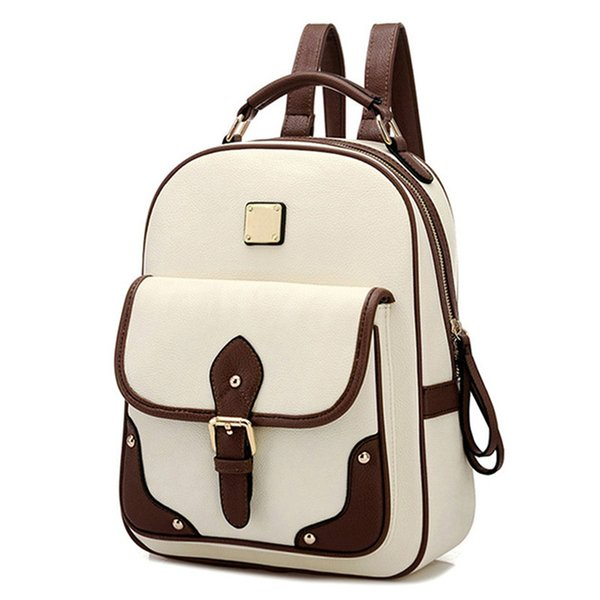 2018 Women's PU Leather Backpack girls School Backpack Fashion High Quality Brand Patchwork Women Travel Bag