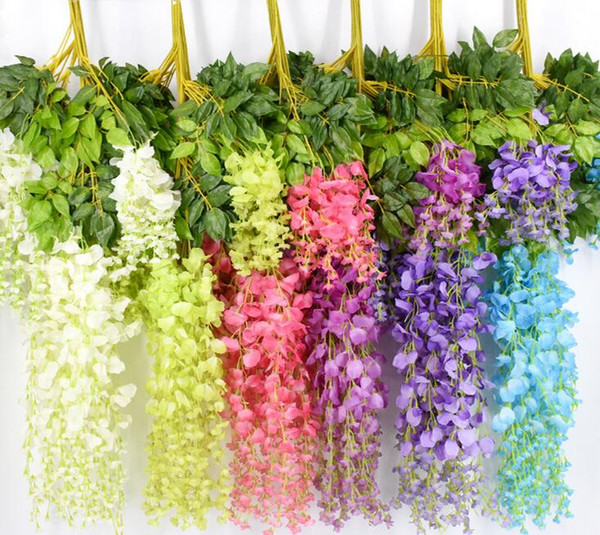 best selling 7 Colors Elegant Artificial Silk Flower Wisteria Flower Vine Rattan For Home Garden Party Wedding Decoration 75cm and 110cm Available