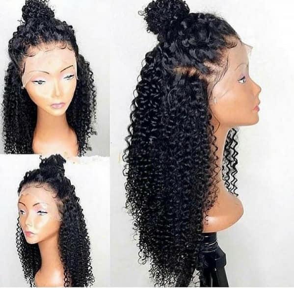Sconti aaaaaaaa grado 100% non trasformati capelli umani vergini remy lunghi colore naturale ricci crespi parrucca piena del merletto cap ...