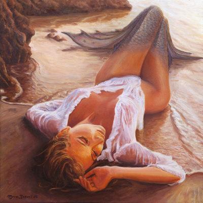 ручная роспись русалка на пляже холст картины маслом скидка лучшая картина маслом холст искусство украшения для дома подарок