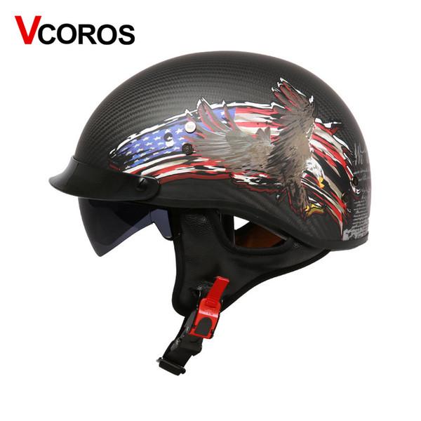 VCOROS Carbon fiber retro half face motorcycle helmet harley vintage motobike helmet with sun shield lens moto helmets DOT
