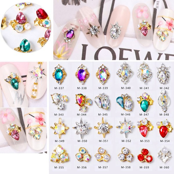Nail Art Decorations Golden Sliver Metal Mounted Mermaid Sea Star Pearls Shiny Crystal Diamonds Rings Studs 3d Manicure New