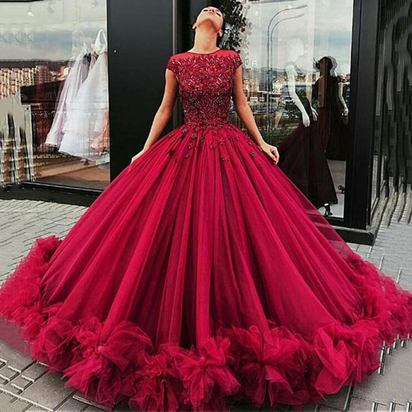 Luxury Tulle Jewel Neckline Cap Sleeves Ball Gown Evening Dresses Glamorous Lace Appliques Beadings Formal Dresses Burgundy Evening Gowns