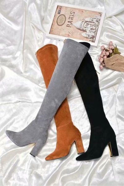 2018 autumn and winter Europe and the United States over the knee boots elastic suede slimming high heels pointed fashion women's boots