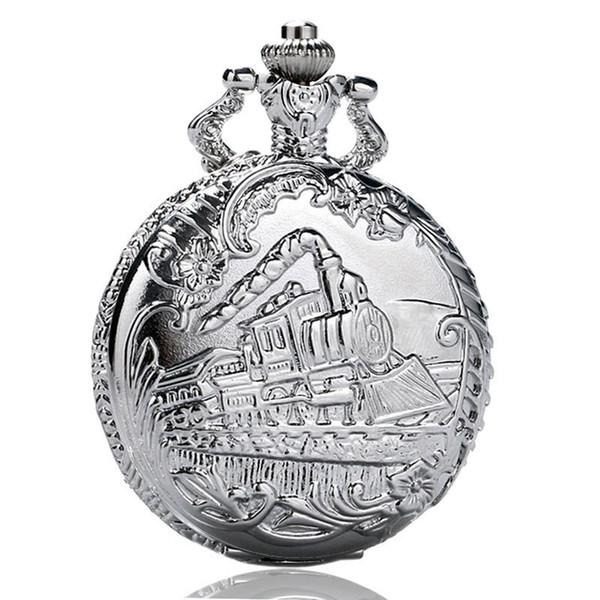 Hot Sale 100pcs/lot Retro Train Pocket Watch Big Size Quatz Fob Clock Vintage Pendant Children Birthday Gift reloj Wholesale