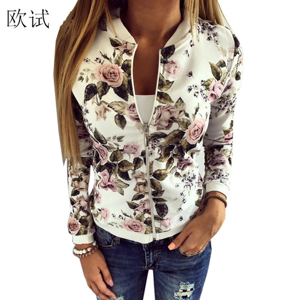 2018 Floral Print Bomber Jacket Women Slim Casual Business Jackets Zip Up Biker Coat Outwear Casaco Feminino Chaqueta Mujer BTS S18101102