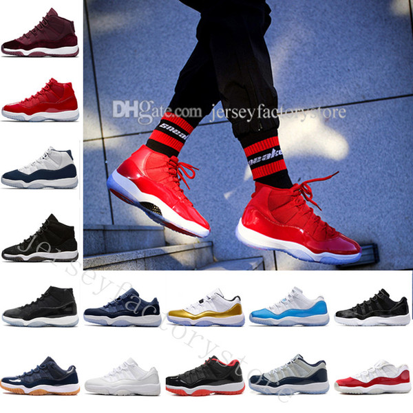 """With Box + Number """"45"""" """"23"""" New 11 Spaces Jams Basketball Shoes for Top quality s 11s Athletic Sports Sneakers Girl big boy shoes US 5.5-13"""
