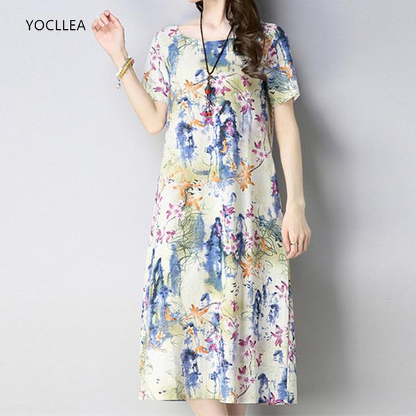 YOCLLEA Летнее платье 2018 Женщины Хлопок Льняное платье с принтом с коротким рукавом Пляжные повседневные платья A-Line Vestidos fresh Gril одежда