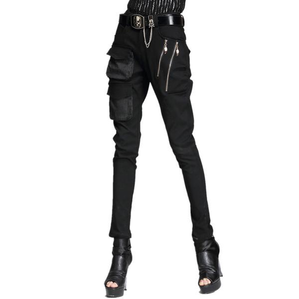 Yeni Punk Tarzı Harem Pantolon Kadın Serin Pantolon Cep Fermuar Streç Sıska Kalem Moda Kadın Casual Kaya Pantolon