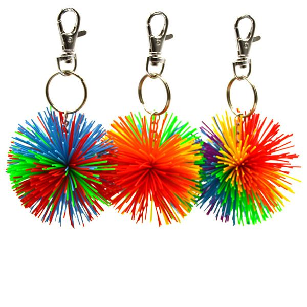 Fashion Silicone Fuzzy Ball Keychains Colorful Pompon Ball Key Rings for Girls Boy Women Men Backpack Handbag Decorative Accessories