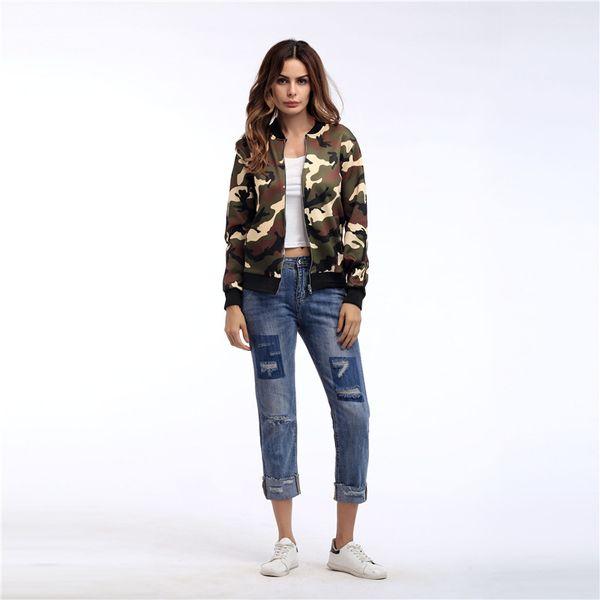 Explosion jacket 2018 autumn fashion casual slim new women's jacket camouflage clothing fashion zipper baseball uniform