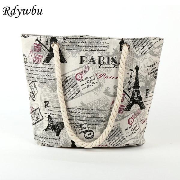 2018 Paris Tower Shell Printing Canvas Beach Shoulder Bag Women's Creative Rope Shopping Bag Big Summer Tote Handbag B103