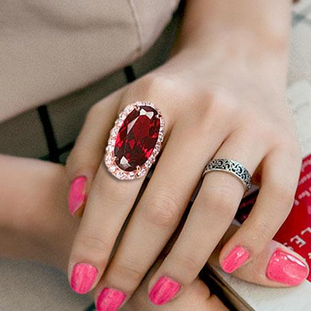 Vintage Exaggerated Rectangle Big Oval Pigeon eggs Dark Red Cubic Zirconia Crystal Ring Rose Gold Color Women Party Jewelry Y1890705
