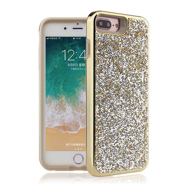 H-shirley Luxury Bling bling Diamond 2 in 1 Phone cases cover for for iPhone6/ 7/8, iphone6P/7P/8p /for iPhone x