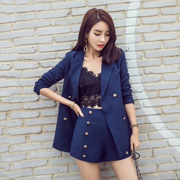 63f937962 2019 Office Lady Suits For Women 2018 Spring Short Pant Suits ...