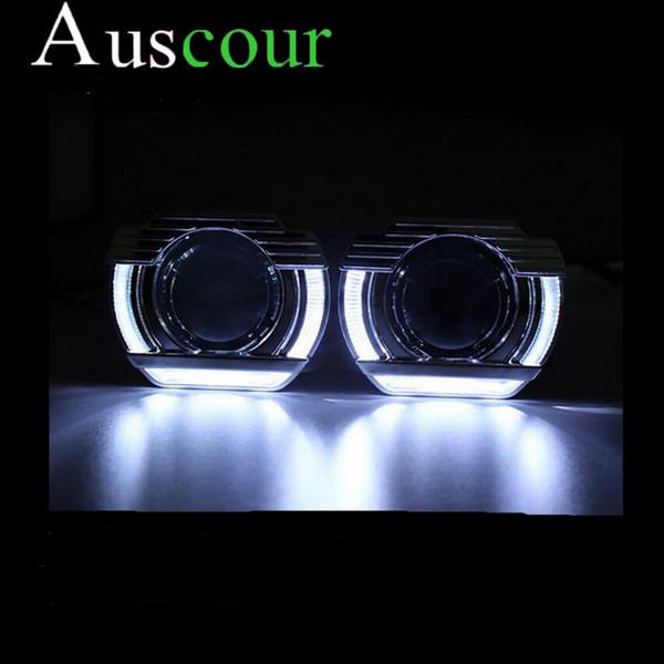 2.5inch auto styling bixenon projektorlinse led tag U form DRL engel augen auto montage kit fit für h1 h4 h7 xenon birne modell
