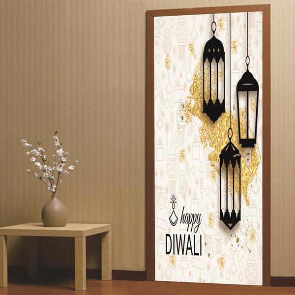 2pcs/set 3D Diwali Style DIY Door Art Mural Stickers Ramadan Blessings Lantern PVC Wall Decals Home Decor Moon Wallpaper Poster