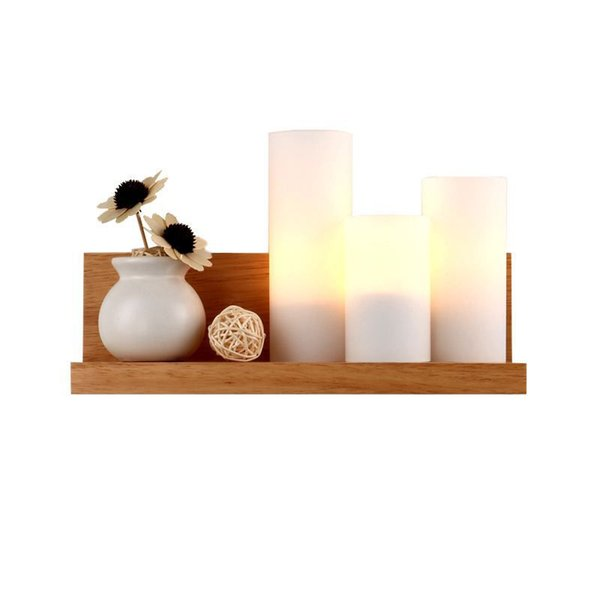 OOVOV Wood Glass Bedroom Bedsides Wall Lights Simple 31cm E27 Simple Living Room Study Room Balcony Corridor Wall Lamp