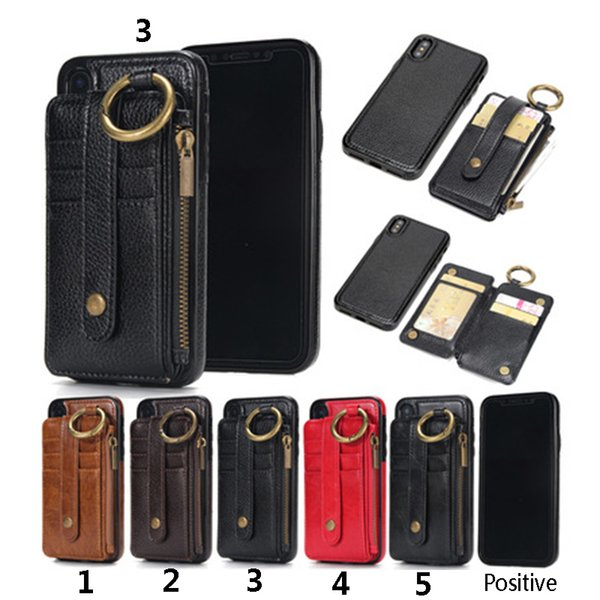 For iPhone X 7 S8 Plus PU Leather Wallect Case Luxury Cell Phone Protector Magnetic Back Cover with Card bag