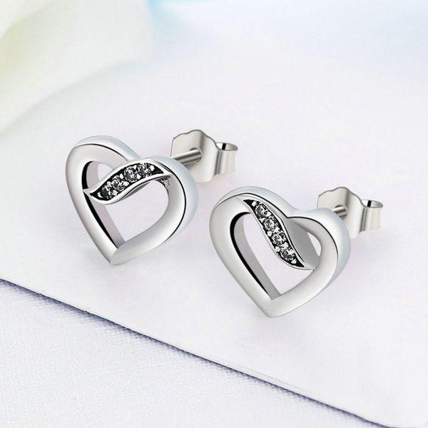 5d1fd06df626a Online Cheap Ribbon Of Love Heart Stud Earrings S925 Silver Fits For  Pandora Style Earrings 290736CZ H8 By Charmingwholesaler   DHgate.Com