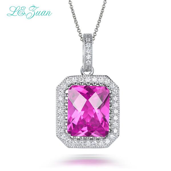 5.45ct Pendants 925 Sterling Silver Necklace For Women Ruby Pink Stone Trendiest Luxury Choker Fine Jewelry P0065-W07