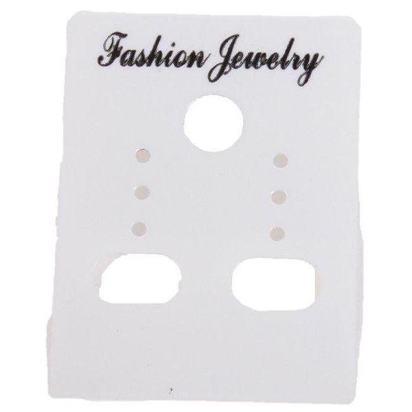 Venta al por mayor-venta al por mayor 540pcs / lot moda blanco personalizado pendientes de la joyería tarjetas de presentación de plástico etiquetas 4 * 3 mm 260331 envío gratis