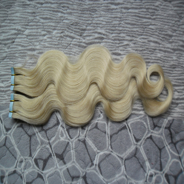 "Blond Brazilian body wave hair weave bundles 10""-26 inch Remy Tape Hair Skin Weft Extensions Human Hair"