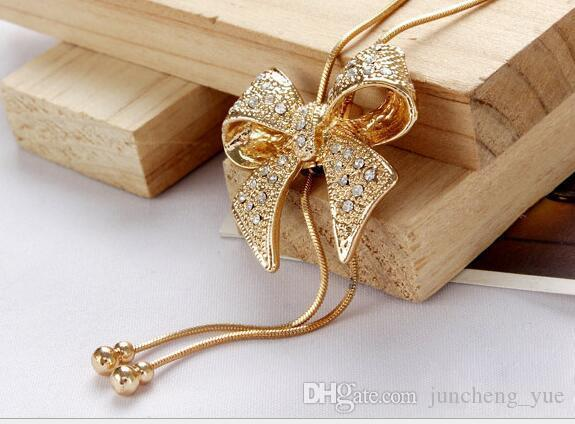 Korean version of popular necklace wholesale Full diamond bow Gourd pendant clavicle chain Gold Fashion sweater chain
