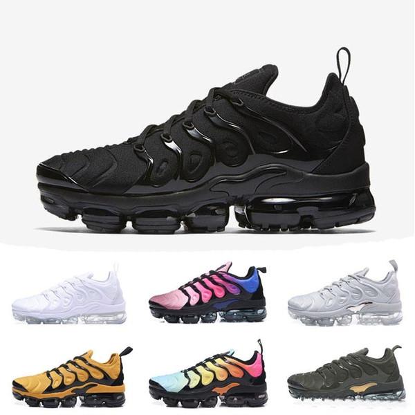 2018 2019 TN Plus Olive In Metallic White Silver Colorways Shoes Men Shoes Running Male Shoe Pack Triple Black women US 5.5-11