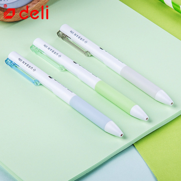 deli stationery 12pcs 0.5mm student pen gel-ink pens supplies gel pen writing black ink creative soft grip pens