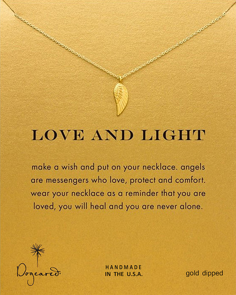 fashion Dogeared Necklaces Gold & Silver Color Necklaces angel wing Pendant Necklace Women Chain Necklace Christmas Birthday Gifts With Card