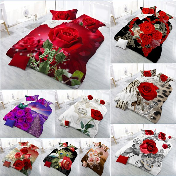 New Beautiful 3D Flower Rose Feast Pattern Bedding Set Bed sheets Duvet Cover Bed sheet Pillowcase 4pcs/set