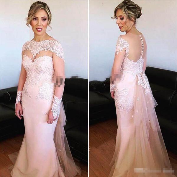 Erröten Rosa Arabisch Formale Abendkleider Lange Ärmel 2018 Sheer Collar Bedeckter Knopf Plus Size Mutter Der Braut Bräutigam Kleid