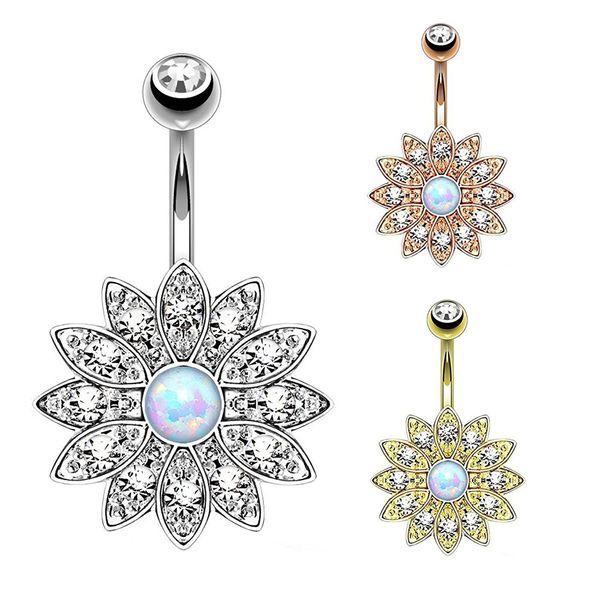 Reine Lotus Opal Bauchnabelpiercing Ringe Opal Bauchnabelpiercing Ombligo Körperschmuck Blume Bauch Ring Nabel Pircing Ohrring