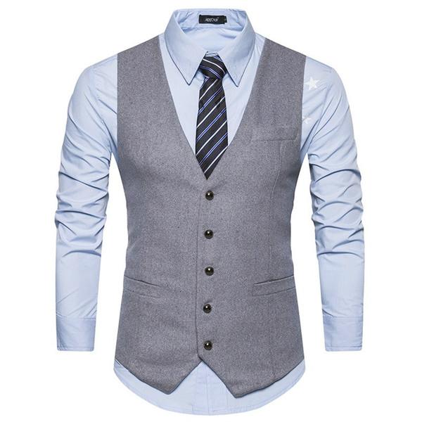 Chaleco de algodón para hombre Chaleco de marca de alto grado Chaleco de lana clásico Chaleco de traje de negocios de Inglaterra Hombres Novio de boda Padrinos de boda Ropa de cantante