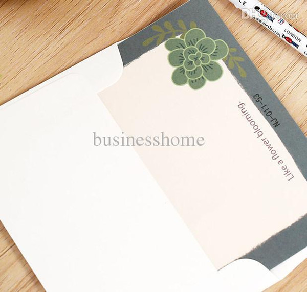 Wholesale-Leaf Succulent Printed Cute Letter Writing Paper with Envelope