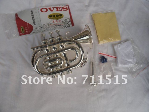 OVES Pocket Trumpet Bb Tone Surface Silver Plated Brass Music Instruments Brand Quality Trumpet With Case