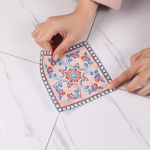 20pcs European Self Adhesive Wallpaper Floor Mosaic Tile Stickers Waterproof ceramic Wall Stickers home decor construction tool