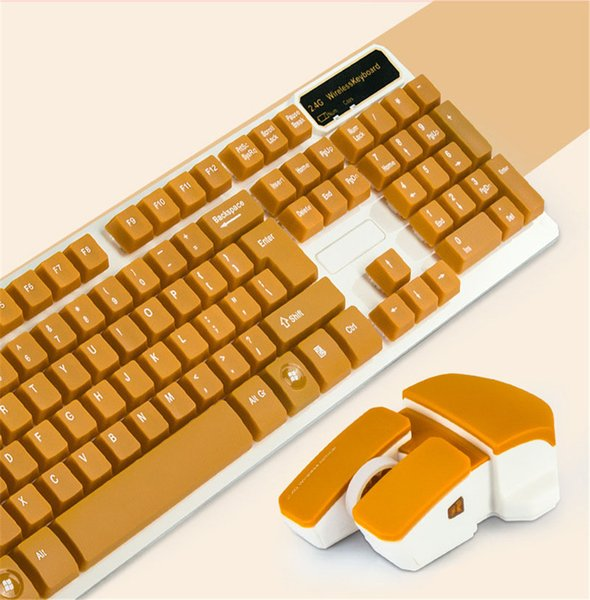 Ergonomics 4Colors English Letter 2.4G Wireless Keyboard Mouse Combo With USB Receiver For Desktop Computer PC Laptop iPad