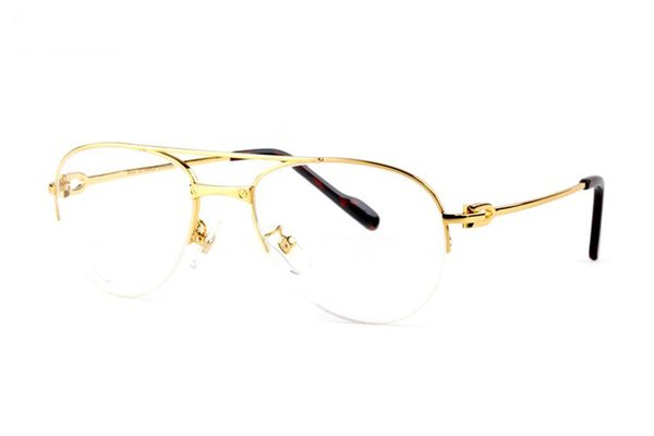 carter France Design Double bridge Pilot gold Alloy Metal frame Buffalo Fashion Brand Luxury Glasses Eyewear With 5 colors red have Box